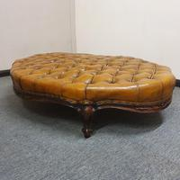 Deep Buttoned Leather Rosewood Stool