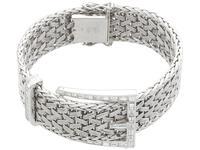 1.50ct Diamond & 18ct White Gold Bracelet - Vintage French c.1940 (4 of 10)