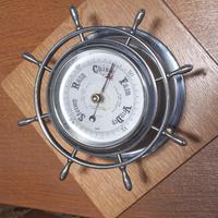 Pair of Chrome Ships Bulkhead Clock & Barometer c.1930 (2 of 4)