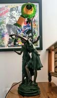 Heavy, Large Bronze Art Nouveau Coloured Lamp - Signed by Artist (8 of 8)