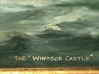 "Marine Oil Painting ""Windsor Castle"" Mail Steamer Ship Signed Dorothy Lightfoot (6 of 31)"