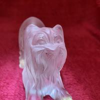 Lalique Yorkshire Terrier sculpture modelled in clear & frosted glass (8 of 8)