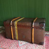 Steamer Trunk 1930s Art Deco Bentwood Travel Chest Coffee Table Storage (10 of 10)
