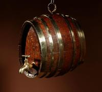 Very Rare and Beautiful Coopered Oak & Brass Small Hanging Barrel (5 of 12)