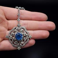 Antique Old Cut Blue Paste Drop Sterling Silver Pendant Necklace (2 of 12)
