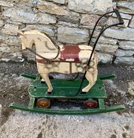 Antique Wooden Push Along Rocking Horse Toy (3 of 19)