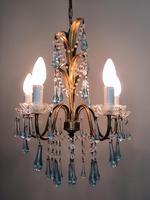 Vintage Gilt Toleware Ceiling Light Chandelier with Teal Glass Droplets (2 of 12)