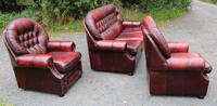 1960s Oxblood Red Leather Suite - Highback 3 Seater Sofa & Pair Armchairs (2 of 3)