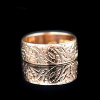 Antique Fancy Engraved Floral Patterned 9ct 9K Gold Stacking Band Ring (7 of 9)
