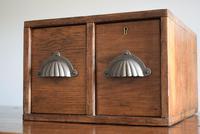 Vintage Mid Century Industrial Oak Bank of Two Drawers (9 of 10)