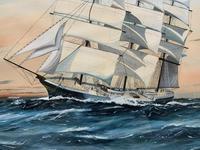 Awesome Tea Clipper Ship 'Hornet' Rough Seas Seascape Watercolour Painting c.1909 (5 of 12)