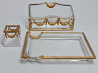 19thc Antique French Gilt Bronze Ormolu & Cut Crystal Desk Set - Letter Rack Holder, Pen / Note Tray & Pot (3 of 17)