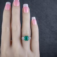 Art Deco Colombian Emerald Diamond Trilogy Ring Platinum 18ct Gold 2.55ct Emerald With Cert (2 of 9)
