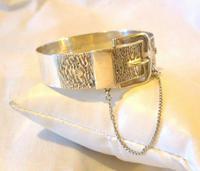 """Vintage Sterling Silver Bangle 1978 Large Buckle Bracelet 7"""" Length 28.5 Grams (3 of 11)"""