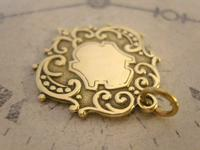 Antique Pocket Watch Chain Fob 1890s Victorian Large Brass Shield Fob (6 of 7)