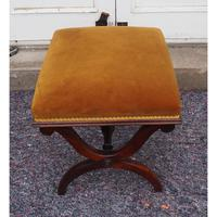 Victorian Rosewood x-frame Stool (6 of 6)