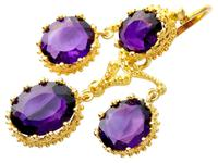 9.15ct Amethyst & 21ct Yellow Gold Chandelier Earrings - Antique c.1895 (3 of 9)