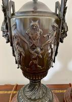 Magnificent Pair of Heavy Bronze Lamps (9 of 11)