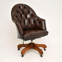 Georgian Style Leather Swivel Desk Chair (3 of 8)