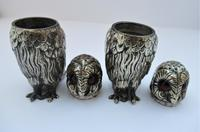 Charming Pair of Victorian EPNS Owl Pepperettes (2 of 9)