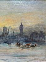 Superb Original 1921 View of Westminster, London Seascape Oil Painting (4 of 12)
