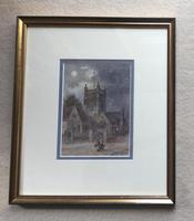 Walter Duncan Watercolour ' Walking Home in the Moonlight' (2 of 2)