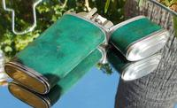 Rare Absolutely Stunning Georgian Solid Silver & Green Shagreen Etui Case    c1760