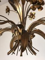 Vintage French 5 Arm Gilt Wheatsheaf & Floral Toleware Chandelier (4 of 9)