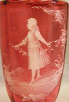 Antique Large Mary Gregory Cranberry Vase (5 of 8)