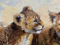 Exceptional 'pride Of Lion Cubs' Large Wildlife Oil Painting By 'silvia Duran' (9 of 12)