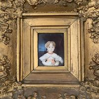 Antique Victorian portrait in oil of a young girl child in ornate gesso frame 2 of 2 (6 of 10)
