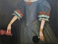Huge Period Antique 3/4 Length Oil Portrait Painting of 17th Century Lady (9 of 13)