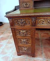 Country Oak Lions Head Pedestal Desk 1860 (2 of 12)