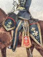 Military Watercolour Prince of Wales Own 10th Royal Hussars Guard on Horseback by Henry Martens c.1850 (10 of 53)