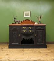 Art Nouveau Black Painted Sideboard, Gothic shabby chic (15 of 16)