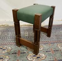 Stylish Arts and Crafts Oak and Leather Stool (4 of 6)