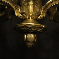 French Gilded Bronze Antique 6 Light Chandelier (6 of 10)