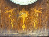 Superb Ansonia Oak Inlaid Mantel Clock Arched Top 8 Day Striking Mantle Clock (7 of 11)
