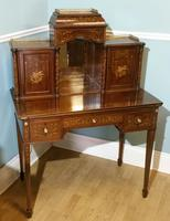 Victorian Mahogany And Inlaid Desk. (5 of 9)