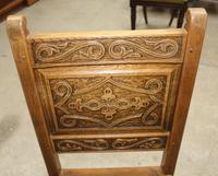 1900's French Oak Refectory Table with Set 6 Oak Chairs +Leather Embossed Seats. (9 of 9)