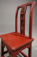 Small Early 20th Century Red Lacquer Carved Side Chair (5 of 6)