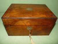 Inlaid Figured Walnut Jewellery – Work Box. Original Tray. C1870 (2 of 13)