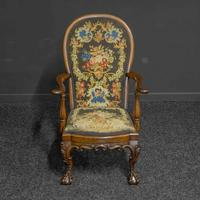 Victorian Carved Rosewood Armchair with Tapestry Upholstery (12 of 13)