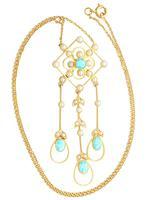 1.15ct Aquamarine & Seed Pearl, 15ct Yellow Gold Pendant - Antique c.1910 (3 of 12)