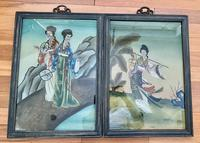 Pair of Chinese Reverse Glass Painting c.1920 (4 of 9)