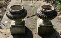 Weathered Reconstituted Pressed Stone Garden Urns (2 of 7)