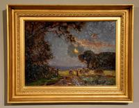"""Oil Painting by William F. Burchell """"Evening in the Fields"""" (3 of 4)"""