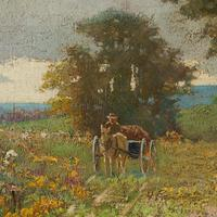Early 20th Century German School Impressionistic Landscape with Cart (10 of 10)