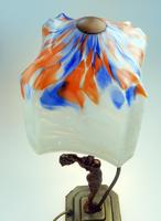 An Unusual Stylised Maiden Art Deco Table Lamp & Shade C.1920's (6 of 11)