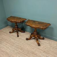 Stunning Pair of Victorian Walnut Antique Card Tables (5 of 9)